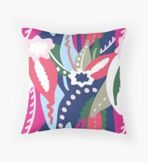 From The Tropics - Pink, Red, Blue and Tan Throw Pillow