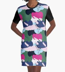 Up In The Clouds - Pink, Blue and Green Graphic T-Shirt Dress