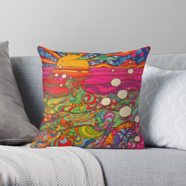 Psychedelic Trippy Hippy Colorful Illustration Throw Pillow