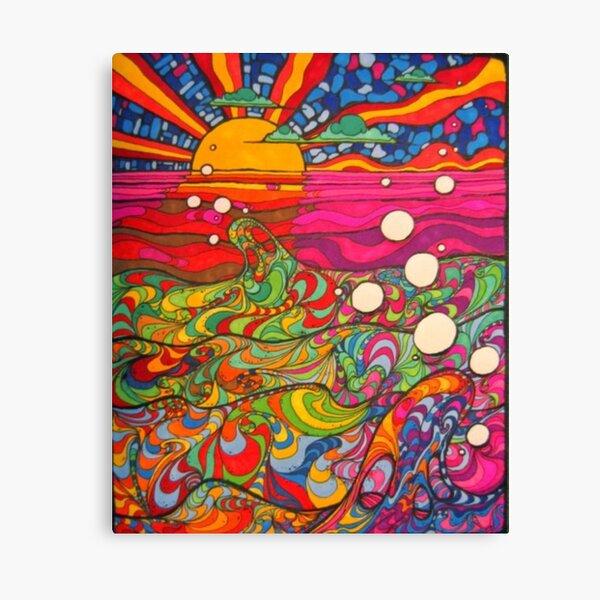 Psychedelische trippy Hippie-bunte Illustration Leinwanddruck