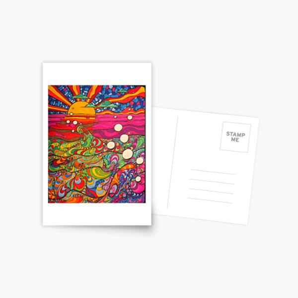 Psychedelic Trippy Hippy Colorful Illustration Postcard