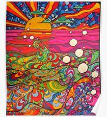 Psychedelische Trippy Hippie-bunte Illustration Poster
