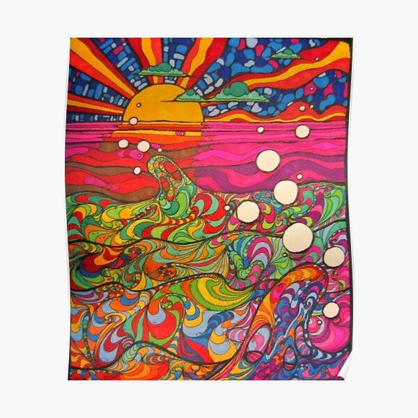 Psicodélico Trippy Hippy Ilustración colorida Póster