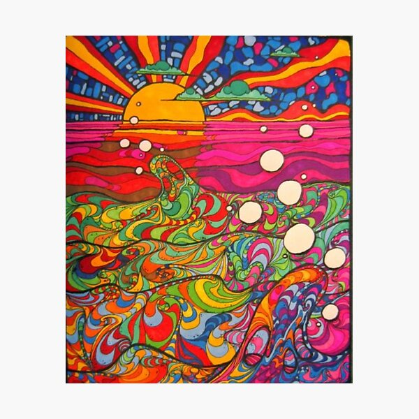 Psychedelic Trippy Hippy Colorful Illustration Photographic Print