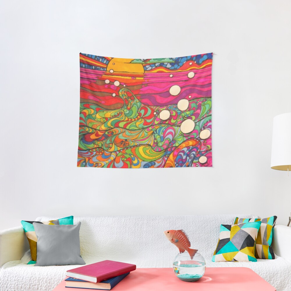 Psychedelic Trippy Hippy Colorful Illustration Tapestry