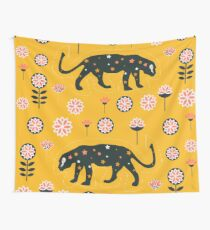 Fantastic jaguars and flowers Wall Tapestry