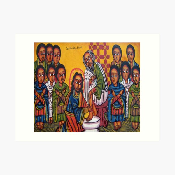 Ethiopian Orthodox Christian Icon Christ Washing Feet Art Print