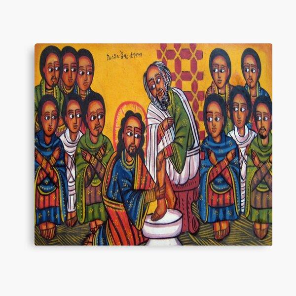 Ethiopian Orthodox Christian Icon Christ Washing Feet Canvas Print