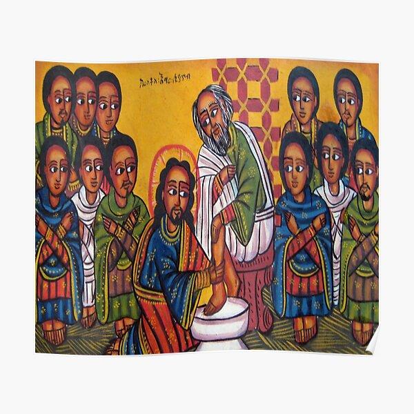 Ethiopian Orthodox Christian Icon Christ Washing Feet Poster