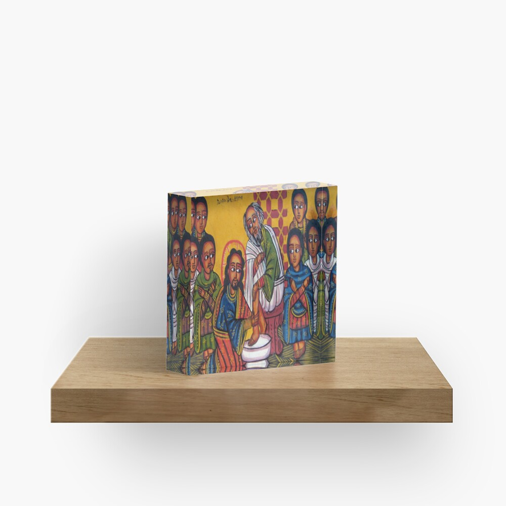 Ethiopian Orthodox Christian Icon Christ Washing Feet Acrylic Block