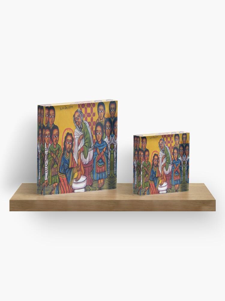 Alternate view of Ethiopian Orthodox Christian Icon Christ Washing Feet Acrylic Block