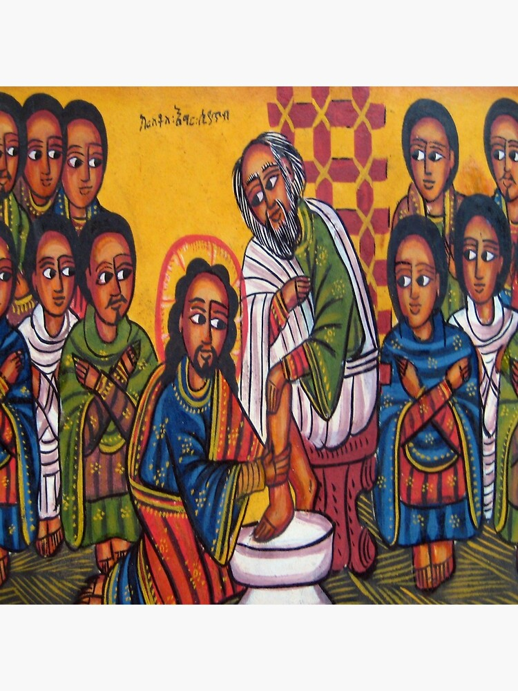 Ethiopian Orthodox Christian Icon Christ Washing Feet by JustusHM