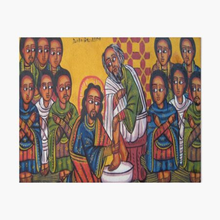 Ethiopian Orthodox Christian Icon Christ Washing Feet Art Board Print