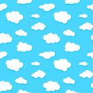 sky of blue and white fluffy clouds by poupoune