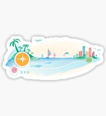 Compass on travel background. Seaside view Sticker.  Sticker