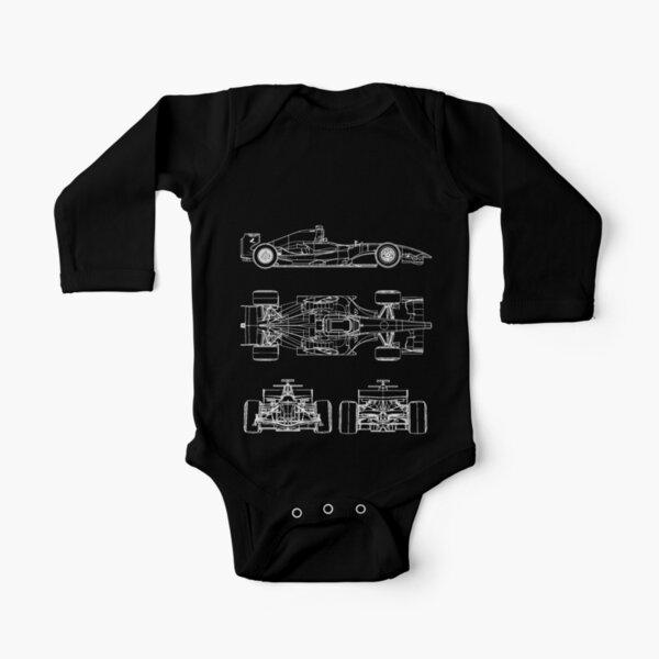 Race car blueprint project Long Sleeve Baby One-Piece