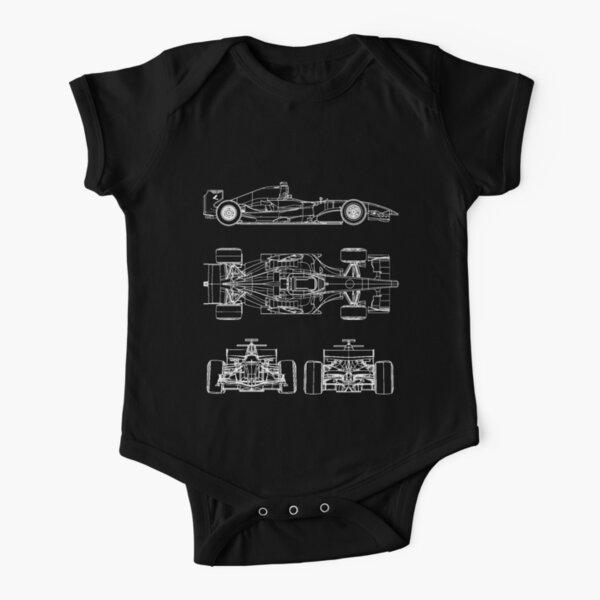 Race car blueprint project Short Sleeve Baby One-Piece