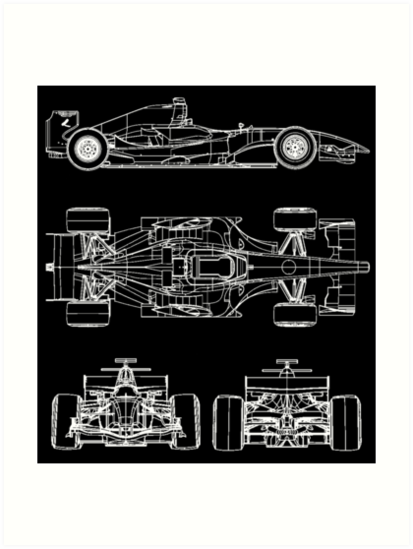 F1 race car blueprint project art prints by ideasfinder redbubble f1 race car blueprint project by ideasfinder malvernweather Choice Image