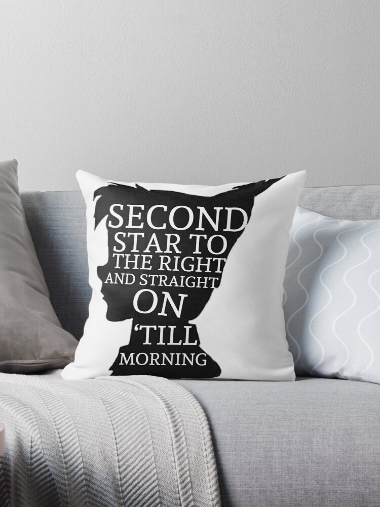 Quot Peter Pan Quote Silhouette Second Star Quot Throw Pillows