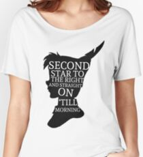 Peter Pan Quote Silhouette -- Second Star Women's Relaxed Fit T-Shirt
