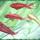 Original Watercolor Goldfish Swimming Water Swirls by Jillian Crider
