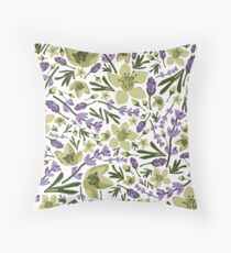 Lavender and Lime Flower Throw Pillow