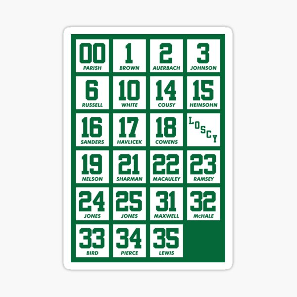 Retired Numbers - Celtics Sticker