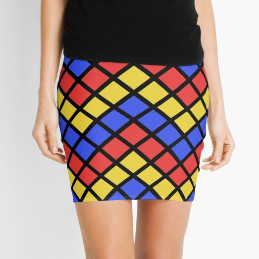 Blue Red and Yellow Zigzag Design Mini Skirt
