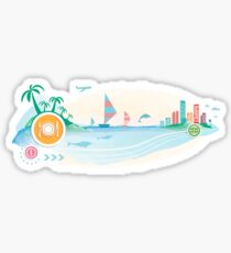 Plate, fork and knife on travel background.  Sticker