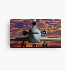Airplane - Front view at sunset Canvas Print