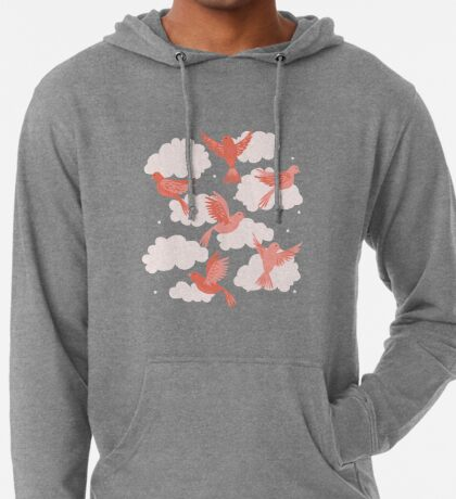 Pink Birds on a Rose Colored Sky Lightweight Hoodie