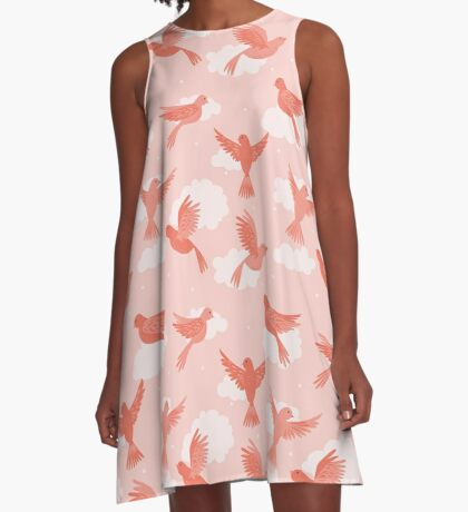 Pink Birds on a Rose Colored Sky A-Line Dress