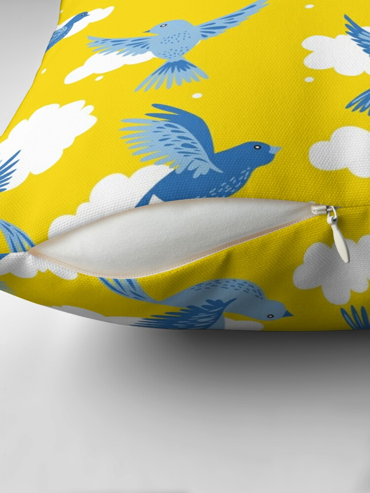 Alternate view of Blue Birds on a Sunny Yellow Sky Throw Pillow