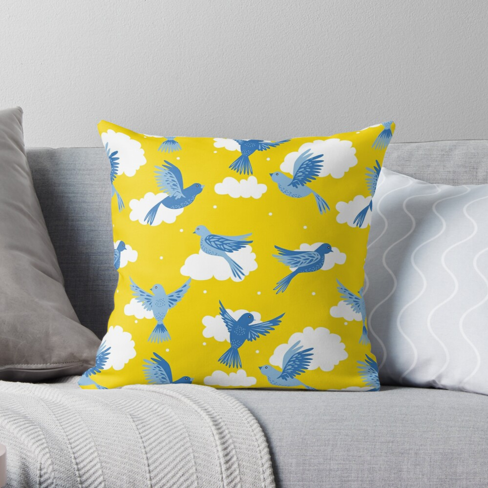 Blue Birds on a Sunny Yellow Sky Throw Pillow