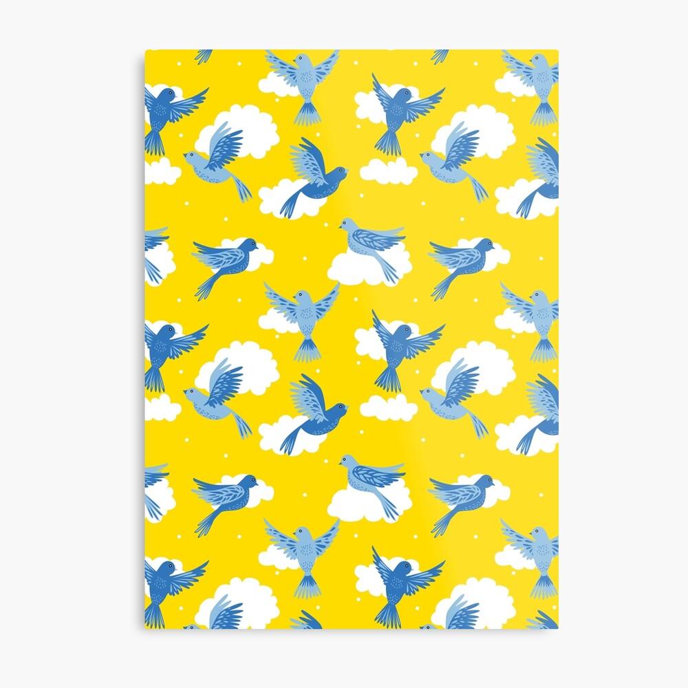 Blue Birds on a Sunny Yellow Sky Metal Print