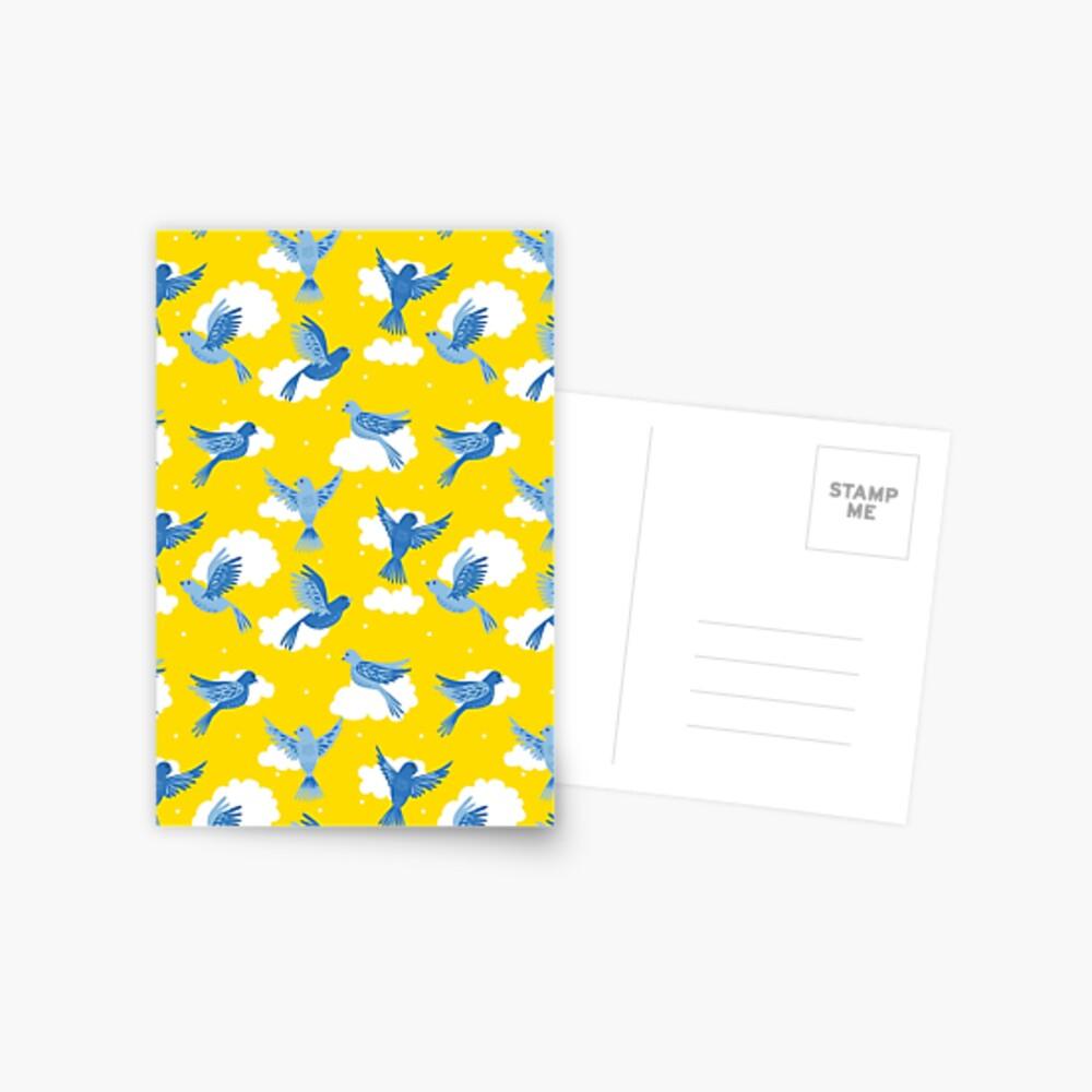 Blue Birds on a Sunny Yellow Sky Postcard