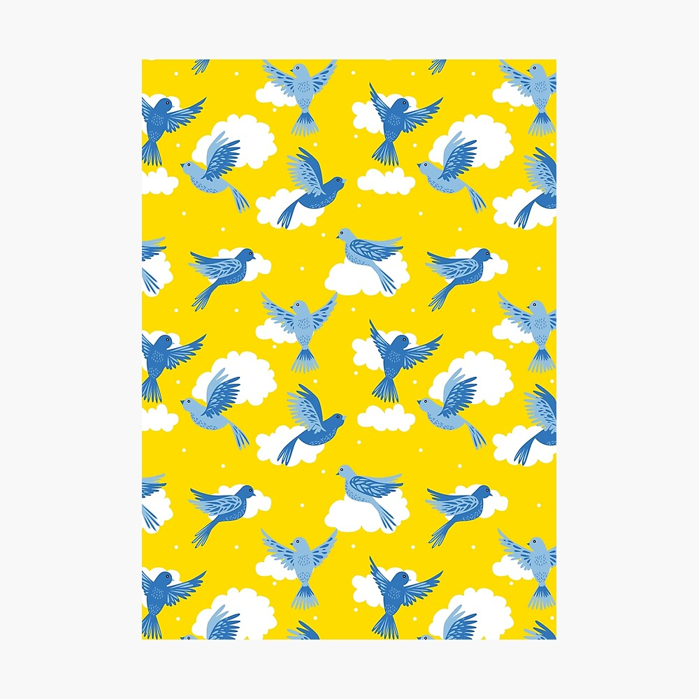 Blue Birds on a Sunny Yellow Sky Photographic Print