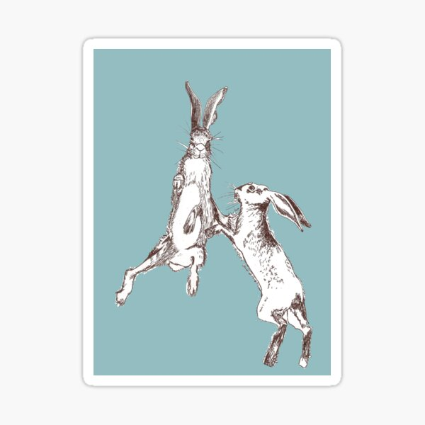 Boxing Hares Blue Sticker