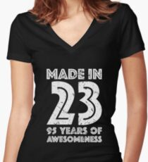 95th Birthday Gift Adult Age 95 Year Old Men Women Womens Fitted V Neck T