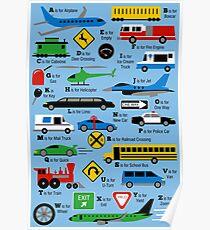 Planes, Trains, and Automobiles Alphabet Poster