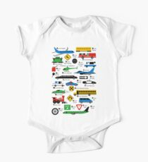 Planes, Trains, and Automobiles Alphabet Shirt One Piece - Short Sleeve
