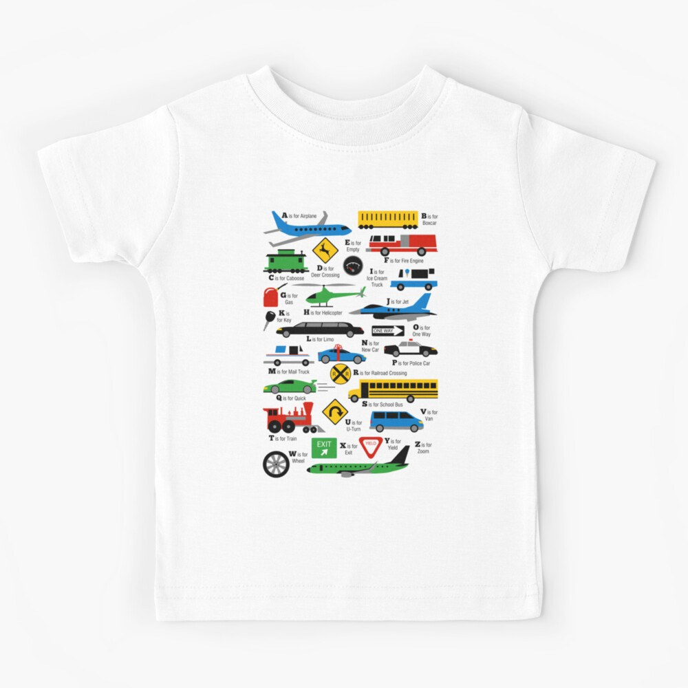 Planes, Trains, and Automobiles Alphabet Shirt Kids T-Shirt