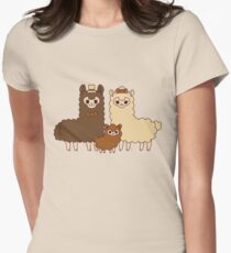 Chocolate alpaca family Womens Fitted T-Shirt