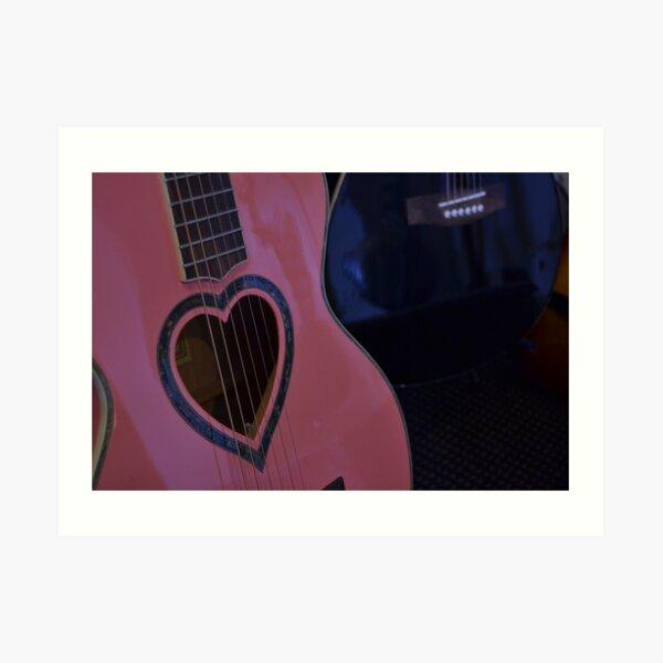 Pink Heart Guitar Art Print
