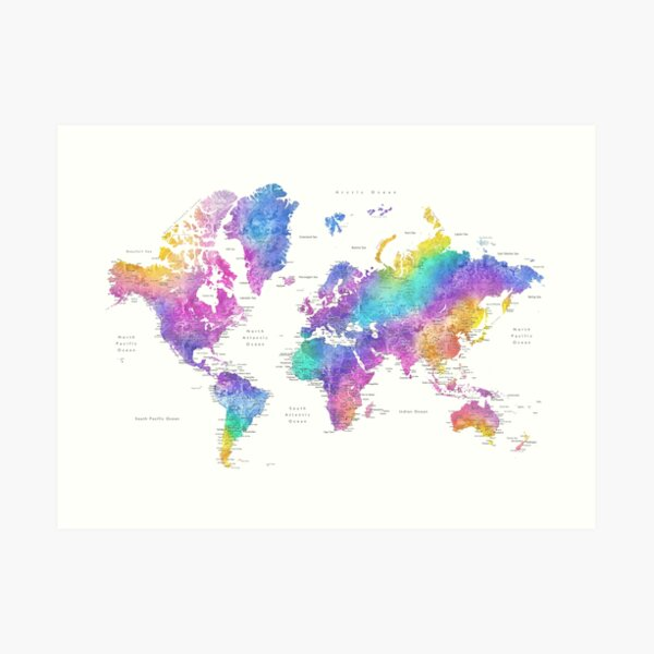 Bright colorful watercolor world map Art Print