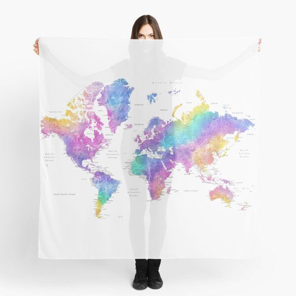 Bright colorful watercolor world map Scarf