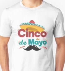 Mexican Hat and Moustache Cinco De Mayo Celebration Shirt Unisex T-Shirt