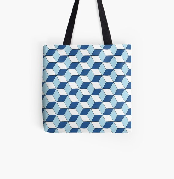 Cubes bleus Tote bag doublé