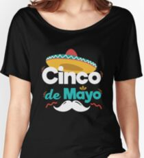 Mexican Hat and Moustache Cinco De Mayo Celebration Shirt Women's Relaxed Fit T-Shirt