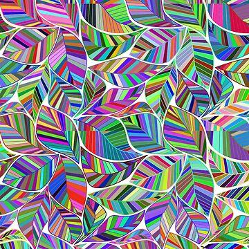 Rainbow Leaf Multicolor Peace by FrancisDigital